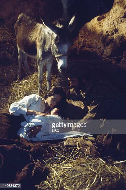 Olivia Hussey as Mary the mother of Jesus unknown as baby Jesus Yorgo Voyagis as Joseph Photo by NBC/NBCU Photo Bank