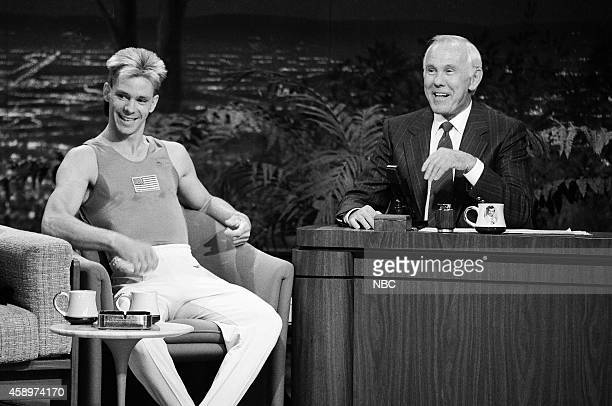 Olympic gymnast Kurt Thomas during an interview with host Johnny Carson on May 10 1990