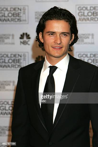 Orlando Bloom poses in the press room at the 62nd Annual Golden Globe Awards held at the Beverly Hilton Hotel on January 16 2005