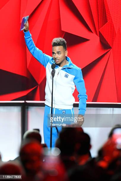 "Pictured: Ozuna, winner of the ""Artist of the Year"" award, at the Mandalay Bay Resort and Casino in Las Vegas, NV on April 25, 2019 --"