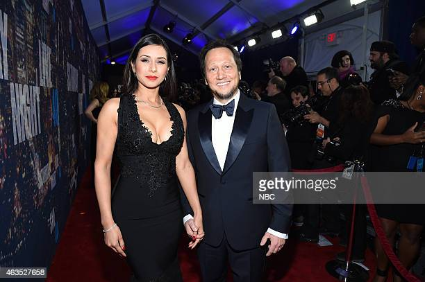 Patricia Maya Schneider Rob Schneider walk the red carpet at the SNL 40th Anniversary Special at 30 Rockefeller Plaza in New York NY on February 15...