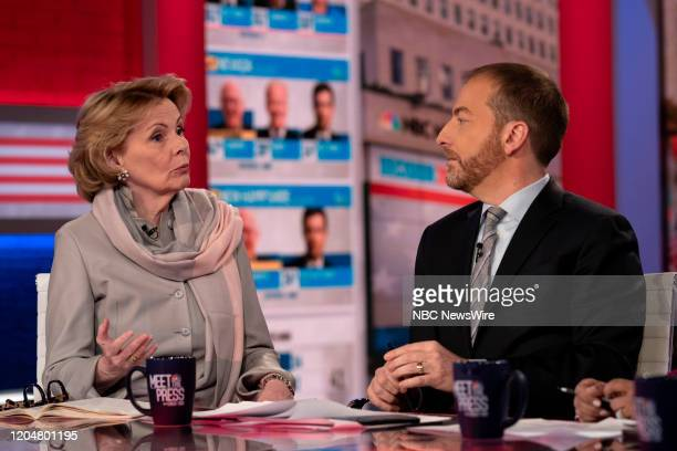 """Pictured: Peggy Noonan, Columnist, The Wall Street Journal and Moderator Chuck Todd appear on ?Meet the Press"""" in Studio 6A at Rockefeller Center in..."""