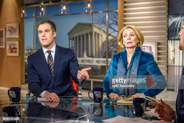 Peter Alexander National Correspondent NBC News and Peggy Noonan Columnist The Wall Street Journal appear on Meet the Press in Washington DC Sunday...