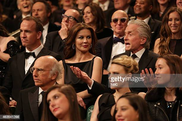 Peyton Manning Catherine ZetaJones Michael Douglas during the Audience QA on February 15 2015