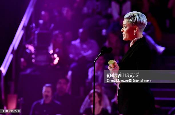 Pink accepts People's Champion of 2019 award on stage during the 2019 E People's Choice Awards held at the Barker Hangar on November 10 2019...
