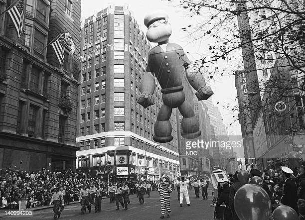 Popeye the Sailor balloon passes overhead during the 1966 Macy's Thanksgiving Day Parade Photo by NBCU Photo Bank