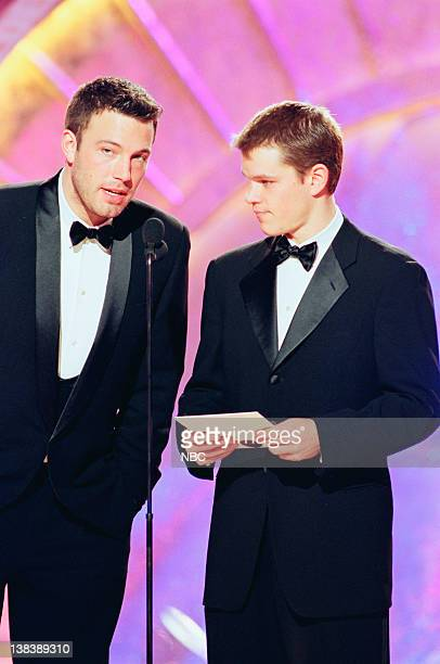 Presenters Ben Affleck and Matt Damon on stage during the 56th Annual Golden Globe Awards held at the Beverly Hilton Hotel on January 24 1999