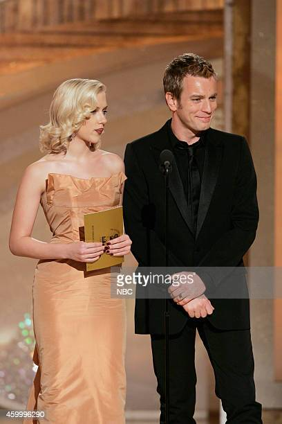 Presenters Scarlett Johansson and Ewan MacGregor speak on stage at the 62nd Annual Golden Globe Awards held at the Beverly Hilton Hotel on January 16...