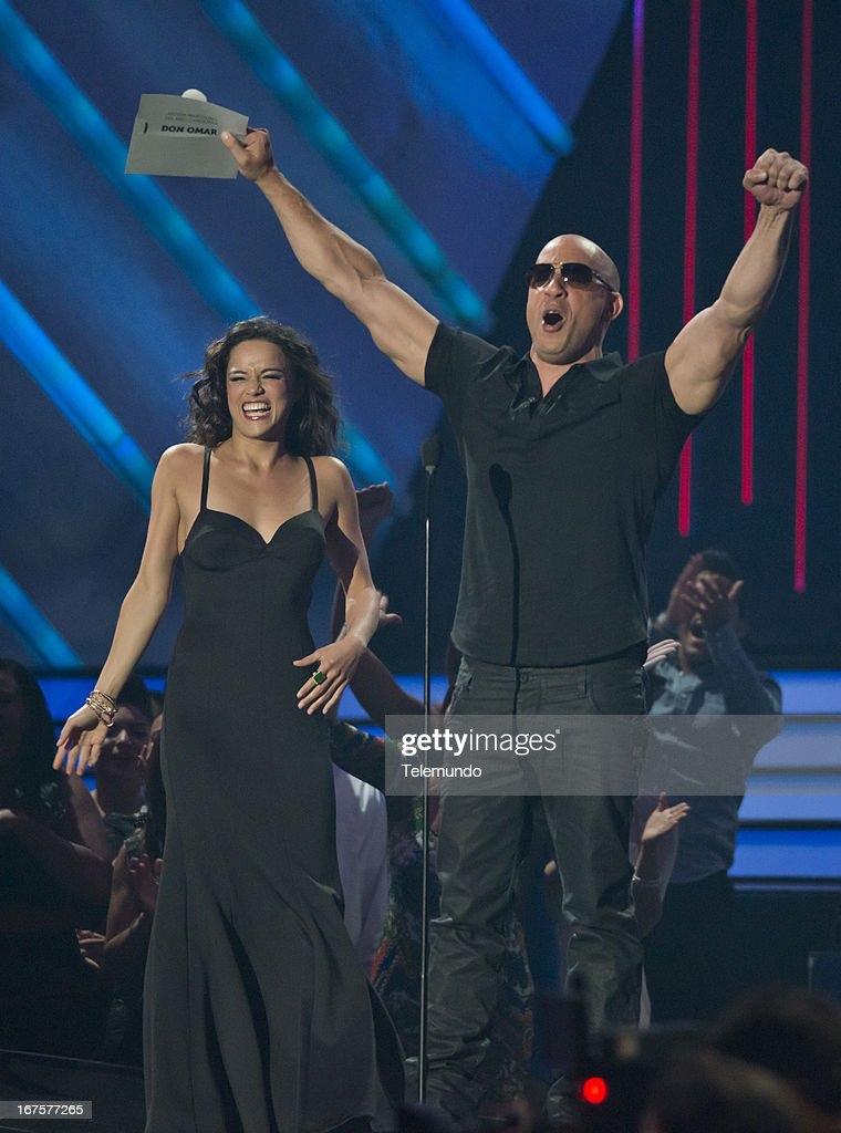 Presenters Vin Diesel and Michelle Rodriguez at the 2013 Billboard Latin Music Awards held at the BankUnited Center, University of Miami in Miami, Florida on April 25, 2013 --