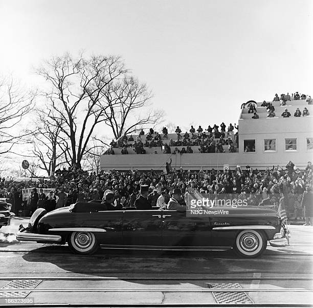 Presidentelect John F Kennedy and First Lady Jacqueline Kennedy in the motorcade in the inaugural parade during the Inauguration of President John F...