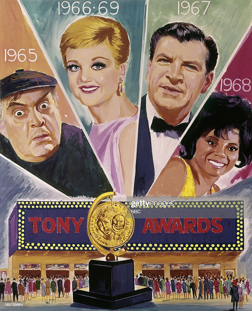 THE 24TH ANNUAL TONY AWARDS -- Pictured: (l-r) Previous winners Zero Mostel (1965), Angela Lansbury (1966, 1969), Robert Preston (1967), Leslie Uggams (1968) --
