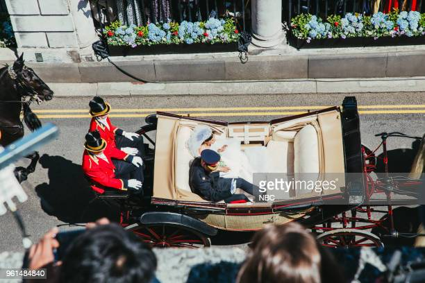 Prince Harry and Meghan Markle ride in an Ascot Landau carriage after their wedding ceremony at St George's Chapel in Windsor Castle on Saturday May...