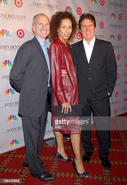 """Pictured: Producer John DeLuca, actress Tamra Tunie and agent Rob Marshall arrive to the Premiere Screening of """"Target Presents Tony Bennett: An..."""