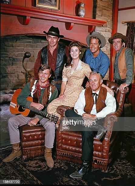 Pictured: Randy Boone as Randy Benton, James Drury as The Virginian, Roberta Shore as Betsy Garth, Doug McClure as Trampas, Clu Gulager as Emmett...