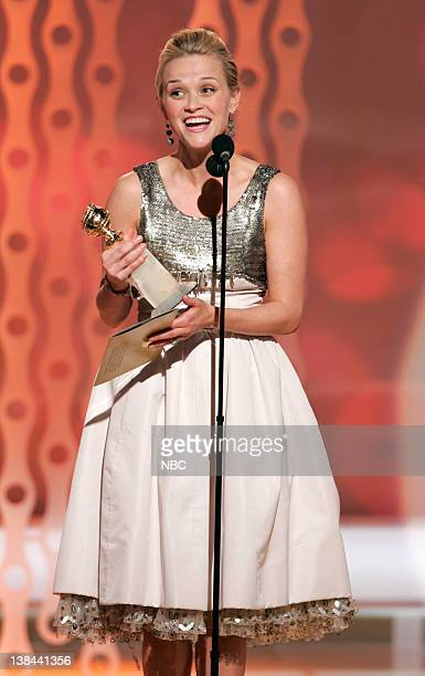 Reese Witherspoon on stage during The 63rd Annual Golden Globe Awards at the Beverly Hilton Hotel