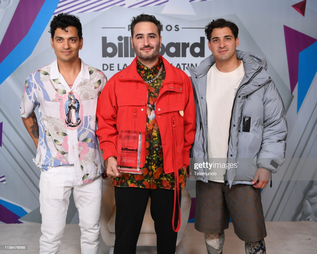 Reik, winners of Latin Pop Song of the Year backstage at the