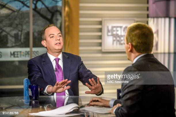Reince Priebus Former Chief of Staff to President Donald Trump and moderator Chuck Todd appear on 'Meet the Press' in Washington DC Sunday Feb 4 2018