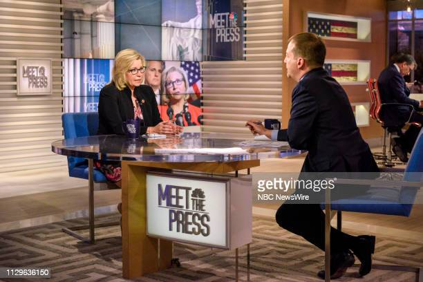 Rep Liz Cheney and moderator Chuck Todd appear on Meet the Press in Washington DC Sunday March 10 2019