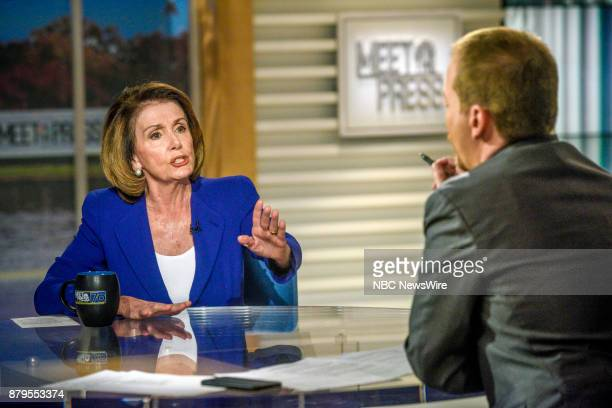 Rep Nancy Pelosi and moderator Chuck Todd appear on 'Meet the Press' in Washington DC Sunday Nov 26 2017