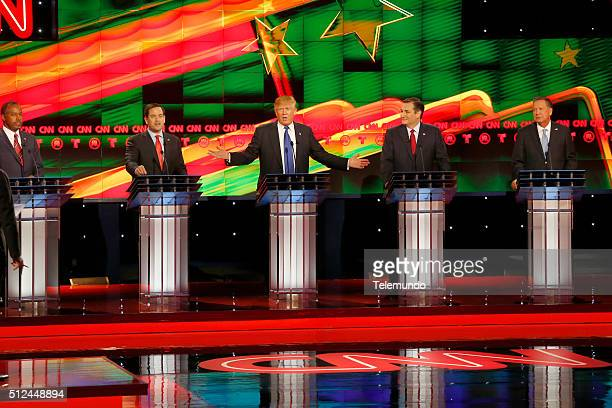 Republican presidential candidates Ben Carson Florida Sen Marco Rubio Donald Trump Texas Sen Ted Cruz and Ohio Gov John Kasich at the Republican...