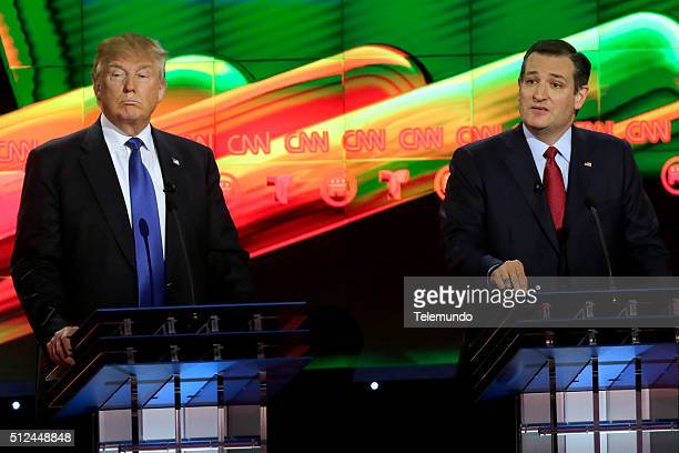 Republican presidential candidates Donald Trump and Sen Ted Cruz at the Republican presidential primary candidate debate sponsored by CNN and...