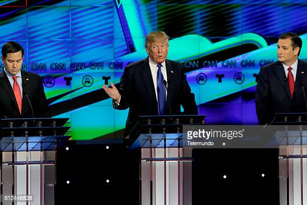 Republican presidential candidates Sen Marco Rubio Donald Trump and Sen Ted Cruz at the Republican presidential primary candidate debate sponsored by...