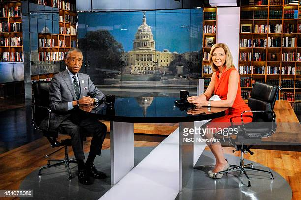 Rev Al Sharpton Host MSNBCs Politics Nation left and guest moderator Chris Jansing right appear on Meet the Press in Washington DC Sunday August 24...