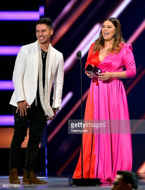 Pictured: Reykon and Yuridia speak on stage at the Mandalay Bay Resort and Casino in Las Vegas, NV on April 26, 2018 --