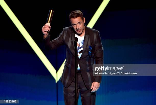 Robert Downey Jr accepts The Male Movie Star of 2019 award for 'Avengers Endgame' on stage during the 2019 E People's Choice Awards held at the...