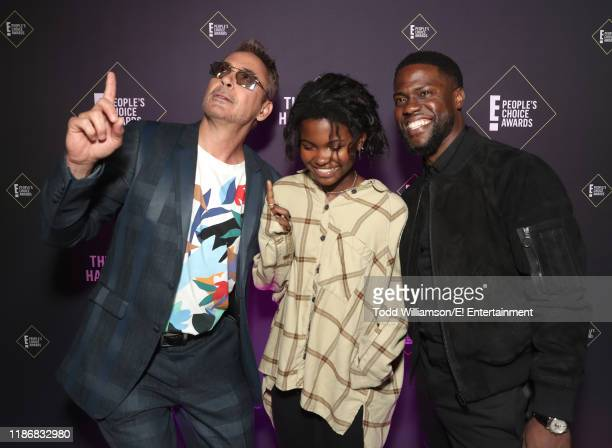 Robert Downey Jr Hendrix Hart and Kevin Hart pose backstage during the 2019 E People's Choice Awards held at the Barker Hangar on November 10 2019...