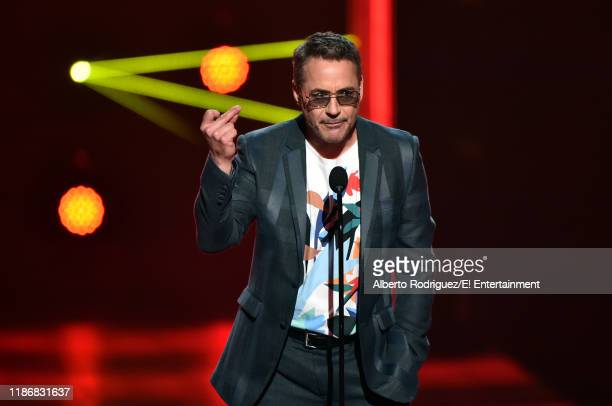 Pictured: Robert Downey Jr. Speaks on stage during the 2019 E! People's Choice Awards held at the Barker Hangar on November 10, 2019 -- NUP_188997