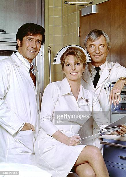 Robert Fuller as Dr Kelly Brackett Julie London as Nurse Dixie McCall and Bobby Troup as Dr Joe Early Photo by NBCU Photo Bank
