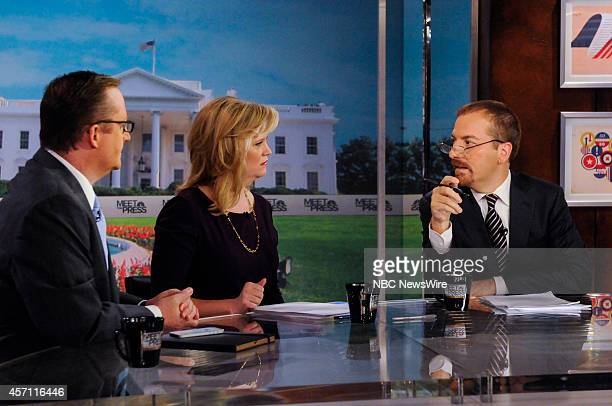 Robert Gibbs Fmr White House Press Secretary Sara Fagen Fmr White House Political Director and moderator Chuck Todd appear on Meet the Press in...