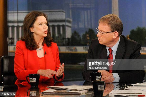 """Pictured: Robin Wright, Joint Fellow, Woodrow Wilson Center, left, and Jeffrey Goldberg, Columnist, Bloomberg View, right, appear on """"Meet the Press""""..."""