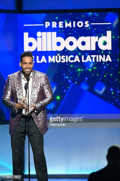 "Pictured: Romeo Santos, winner of the ""Tropical Artist of the Year, Solo"" award, at the Mandalay Bay Resort and Casino in Las Vegas, NV on April 25,..."