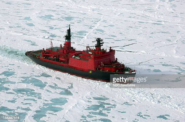 Russian nuclear powered icebreaker Yamal traveling through the Arctic Ocean on its way to the North Pole The icebreaker is a ship for use in waters...