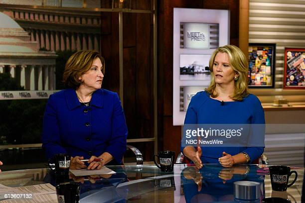Ruth Marcus Columnist Washington Post left and Sara Fagen Contributor CNBC right appear on Meet the Press in Washington DC Sunday Oct 9 2016