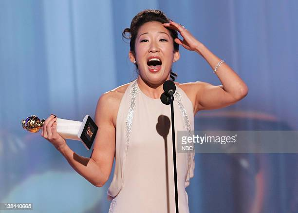 Sandra Oh on stage during The 63rd Annual Golden Globe Awards at the Beverly Hilton Hotel