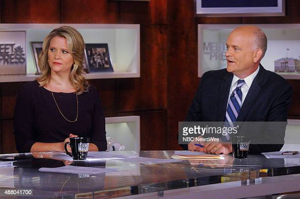 Sara Fagen Fmr White House Political Director left and Ron Fournier Political Journalist for The National Journal right appear on Meet the Press in...