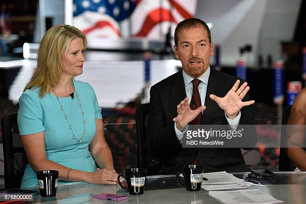 Sara Fagen GOP Political Strategist right Moderator Chuck Todd appear on Meet the Press in Cleveland OH Sunday July 17 2016
