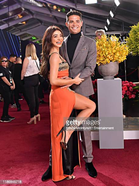 Sarah Hyland and Wells Adams arrive to the 2019 E People's Choice Awards held at the Barker Hangar on November 10 2019 NUP_188994