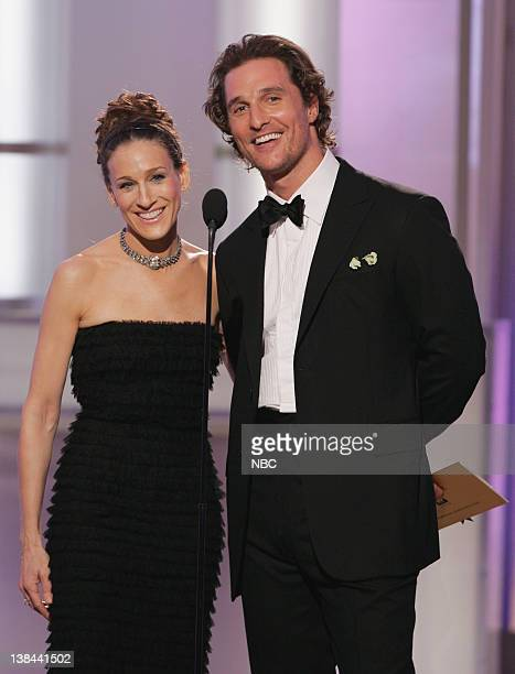 Sarah Jessica Parker Matthew McConaughey on stage during The 63rd Annual Golden Globe Awards at the Beverly Hilton Hotel
