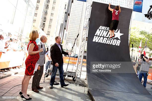 Savannah Guthrie Matt Lauer and American Ninja Warrior host Matt Iseman and contestant Rob Moravsky appear on NBC News' 'Today' show