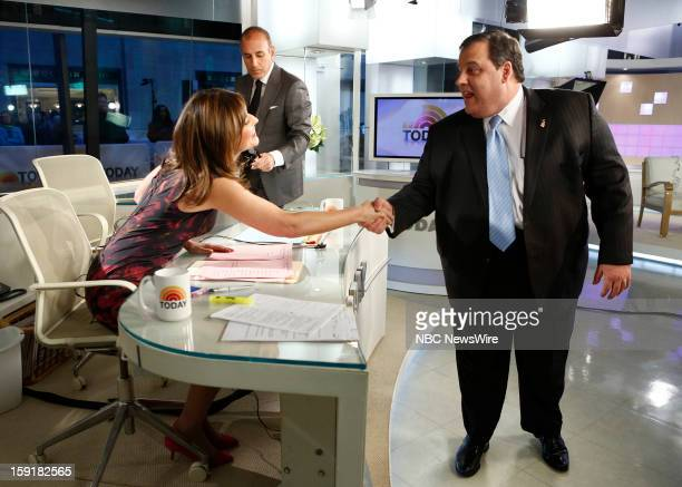 Savannah Guthrie Matt Lauer and Gov Chris Christie appear on NBC News' 'Today' show