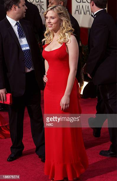 Scarlett Johansson arrives at The 63rd Annual Golden Globe Awards at the Beverly Hilton Hotel