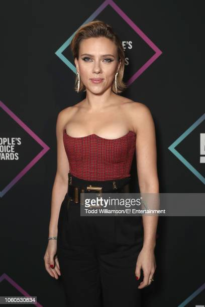 Scarlett Johansson poses backstage during the 2018 E People's Choice Awards held at the Barker Hangar on November 11 2018 NUP_185073