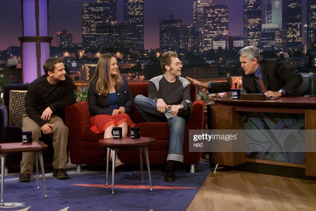 Sean and Sara Watkins with Chris Thile from Group Nickel Creek during an interview with Host Jay Leno on June 27th, 2001 --