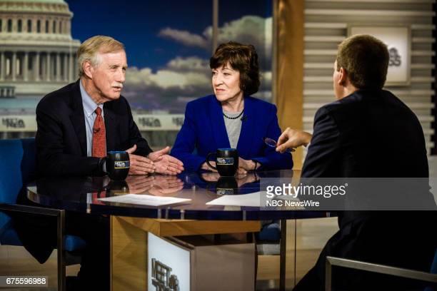 Sen Angus King Sen Susan Collins and moderator Chuck Todd appear on 'Meet the Press' in Washington DC Sunday April 30 2017