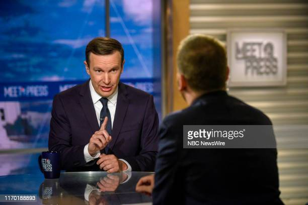"""Pictured: Sen. Chris Murphy and moderator Chuck Todd appear on """"Meet the Press"""" in Washington, D.C., Sunday September 22, 2019."""