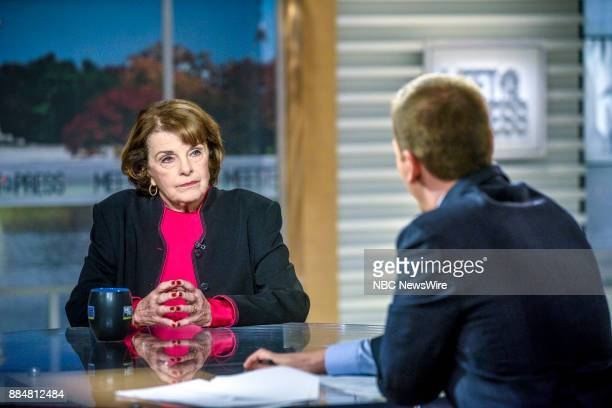 Sen Dianne Feinstein and moderator Chuck Todd appear on 'Meet the Press' in Washington DC Sunday Dec 3 2017